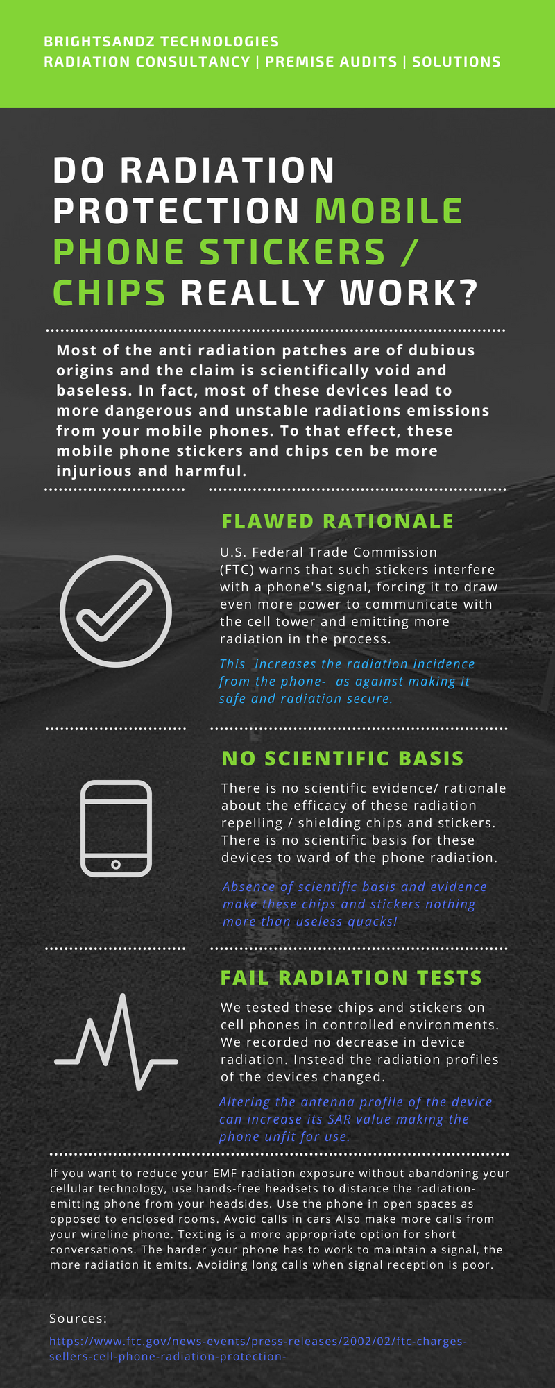 Infographic: Three reasons why you should not be trusting a mobile phone anti radiation sticker to do the job for you.